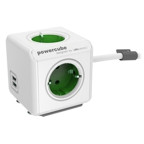 Product Allocacoc PowerCube Extended 4Plug & 2USB Ports Green base image