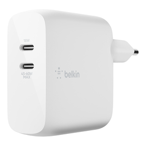 Product Belkin BOOST↑CHARGE Dual USB-C PD GaN Wall Charger 63W White base image