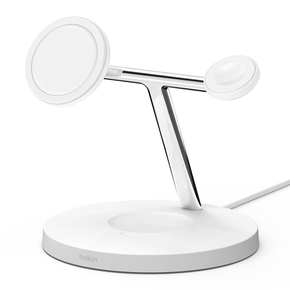 Product Belkin BOOST CHARGE PRO 3-in-1 Wireless Charger Stand with MagSafe White base image