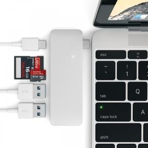 Product Satechi USB-C to USB-C/USB 3.0/Micro SD/SD Pass Through Hub Silver base image