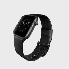 Product Uniq Mondain Leather Strap for Apple Watch 44/42mm Black base image