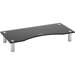 Product VonHaus Small Glass Monitor Stand - Black 56X24cm base image